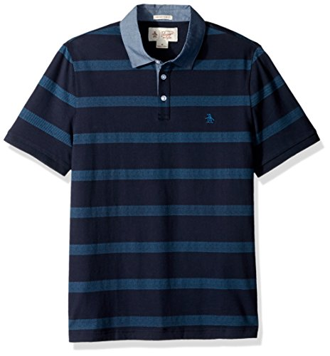 Original Penguin Men's Short Sleeve Twill Striped Polo with Chambray Collar, Dark Sapphire, Large (Polo Penguin Original Striped Shirt)