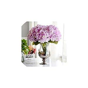 Fashion-LN Artificial Flower Hydrangea 5 Heads Silk Hydrangea Bouquet for Wedding Party New Year Decoration,Light Purple 100