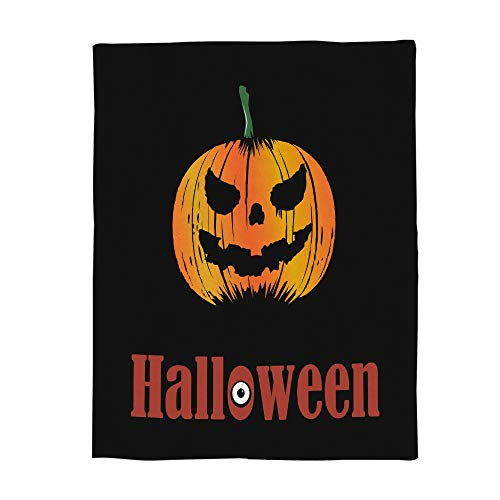 Flannel Fleece Blanket Happy Halloween Funny Pumpkin Clipart Pattern Bed Blanket Super Soft Warm Cozy for Baby/Girl/Boy/Adult/Travel Size -