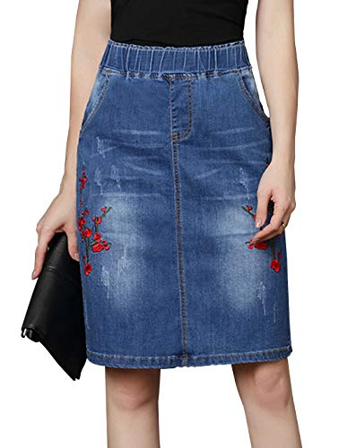 Chartou Womens Retro Floral Embroidered Elastic High Waist Straight Denim Skirts (Small, Blue)