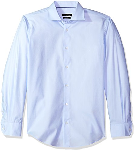 - Bugatchi Men's Shaped Fit Printed Voile Texture Point Collar Dress Shirt, Sky, 18