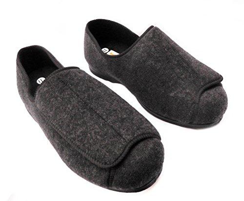 Para hombre zapatillas de EEEE Wide Fit ortopédico lavable totalmente ajustable con cierre de Touch gris