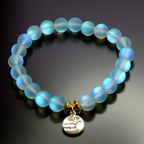 Mermaid Glass Quartz Glowing Aura Constellation Zodiac Pendant Bracelet Matte 8mm for her women valentine birthday gift Stretch -