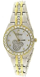 New Watch Disney Mickey Mouse Womens MK2042 MOP Dial Two-Tone Rhinestone Bracelet Watch