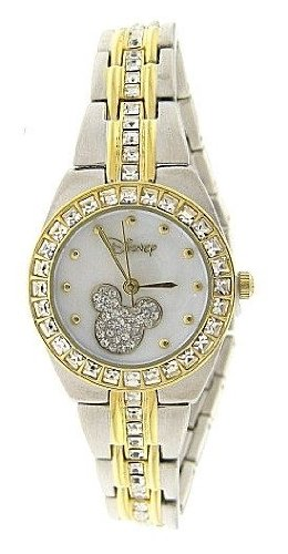New Watch Disney Mickey Mouse Women's MK2042 MOP Dial Two-Tone Rhinestone Bracelet Watch Watch Mickey Mouse Christmas