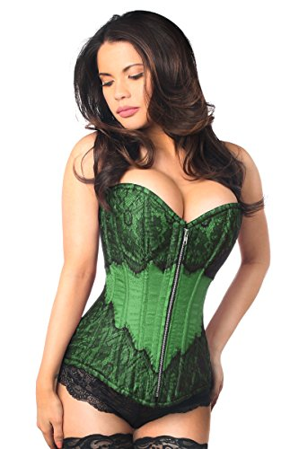 Lace Brocade Corset (Daisy corsets Women's Top Drawer Brocade Steel Boned Corset W/Black Eyelash Lace, Green, X-Large)