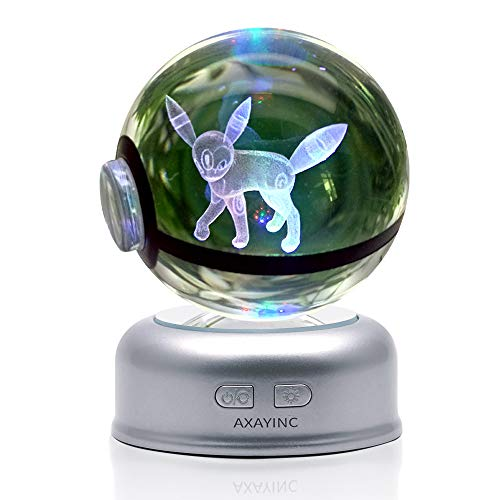AXAYINC 3D Crystal Ball 70mm LED Night Light Change Color Christmas Birthday Kids Gift. (7 yue Jing ling) ()