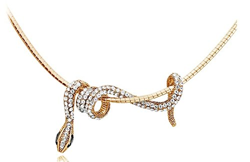 Hen night Personality Necklace Crystal Small Snake Winding Shape Necklace ()