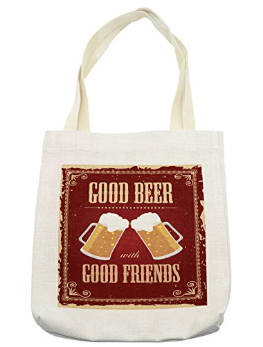 Lunarable Vintage Tote Bag, Good Beer with Good Friends Lettering and Two Big Glasses in a Frame Buddies Image, Cloth Linen Reusable Bag for Shopping Groceries Books Beach Travel & (Good 2 Person Costume Ideas)