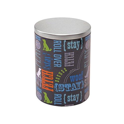 Paw Prints Large Tin Treat Jar, Wordplay Design, 5.25 x 7.5 x 5.25 Inches ()