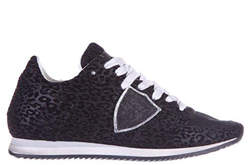Philippe Model scarpe sneakers donna in pelle nuove tropez leopard nero