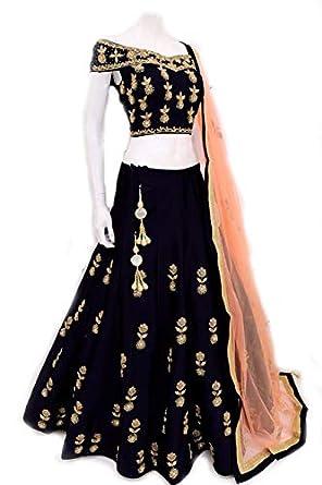 fb2fad6e87d Spark Creation Taffeta Silk With Codding Embroidery Work Black lehenga Choli:  Amazon.in: Clothing & Accessories