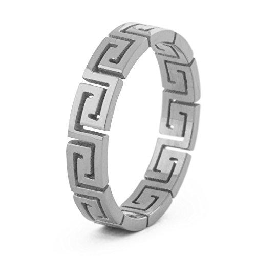 Greek Ornament Design Ring Women Men Stainless Steel Minimalist Silver US 6 ()