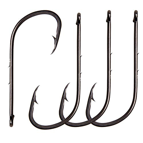 AGOOL Baitholder Fishing Hooks Long Shank Beak Bait Holder Hooks Black Offset Jig Fishing Hooks with 2 Barbs 50-150pcs Size:4#-6/0# ()
