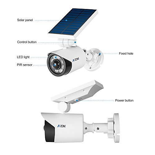 Solar Motion Sensor Light Outdoor - 800Lumens 8 LED Spotlight 5-Watt Solar Lights Outdoor IP66 Waterproof, Wireless Solar Flood Light for Porch Garden Patio Driveway Pathway,Plastic,Pack of 2 (White) by A-ZONE (Image #1)