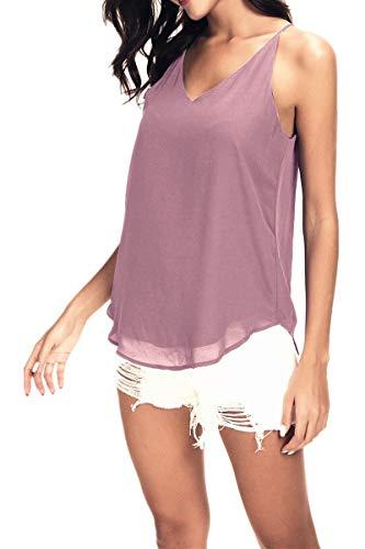 Women's V-Neck Chiffon Spaghetti Strap Cami Top (X- Large, Lilac Pink)