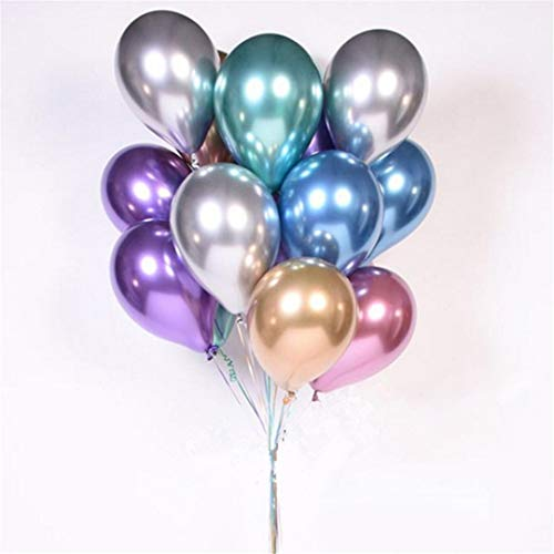10Pcs 12Inch Chrome Latex Air Helium Balloons Baby Bridal Wedding Birthday Party Metallic Gold Silver Balloon Decor Kids Balls Mix Chrome Latex 12Inch]()