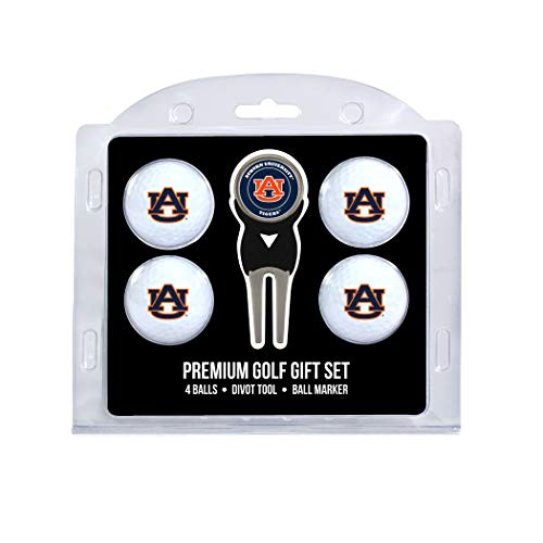 Team Golf NCAA Auburn University Tigers Regulation Size Golf Balls (4 Count) & Divot Tool with Removable Double-Sided Magnetic Marker