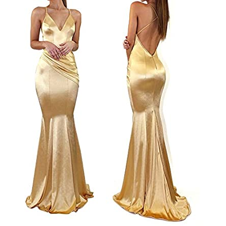 WenssLTD Womens Satin Mermaid Formal Wedding Dress...
