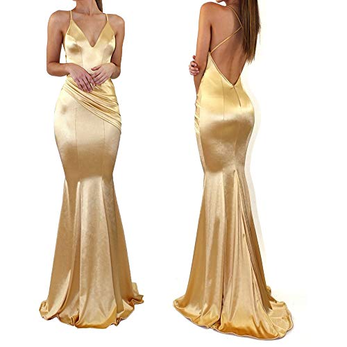 WenssLTD Womens Satin Mermaid Formal Wedding Dress Backless Long Evening Party Prom Gown (XL, Gold)