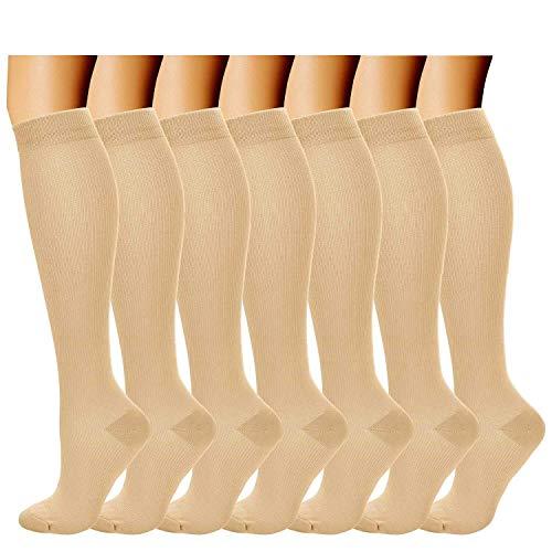 Acexy Kompressionssocken (7 Paar) für Frauen & Männer - für Medizin, Krankenpflege, Laufen & Fitness, Ödeme, Krampfadern, Durchblutung & Erholung