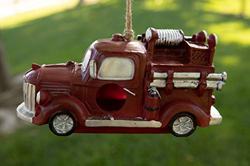 Alpine Corporation SLL1702HH Hanging Fire Truck Birdhouse, 5 Inch Tall, Red