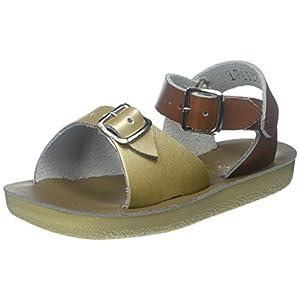 Salt Water Sandals Girls' Sun-San Surfer, Gold and Tan, 7 M US Toddler