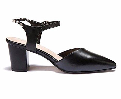 HBDLH-7Cm Hohen Hohen Hohen Absätzen Sandalen Im Frühling und Sommer Spitze Grob Hacken Damenschuhe Wasser Läuft Ketten Hohl Einzelne Schuhe.  1f8a49
