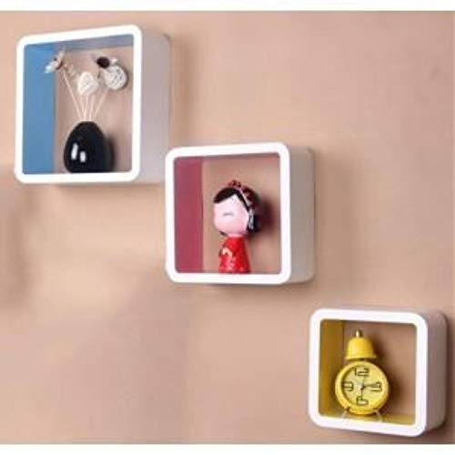 My Aashis CONNECTWIDE 3 Retro Square Wooden Rounded Floating Cube Wall Storage Shelves