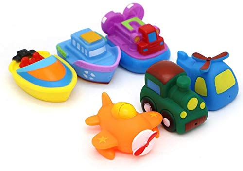 (LOZUSA Baby Bathtub Toys Land Water Air Rubber PlaySet Toddlers Train, Helicopter, Airplane, Hovercraft, Tug Boat Motor Boat 6 Pieces Best Floating Toys Kids Ages 18+ Months)