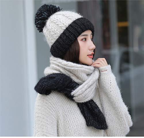 blanco bufanda roto Mujer Conjunto tejidas de gorritas Acvip negro y guantes x8qaIxOn
