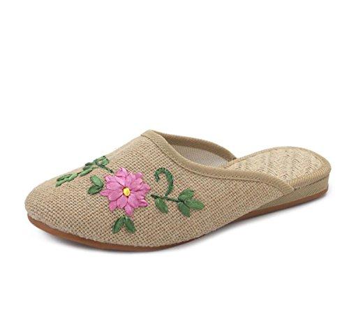 DANDANJIE Zapatillas de Viaje de Spring Home Bordado de Viento Nacional Wild Shoes Sandalias de Fondo tendón al Aire Libre Zapatos caseros Caqui