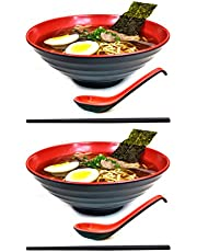 6 Piece (2 Sets) Large Japanese Ramen Noodle Soup Bowl Dishware Set with Matching Spoon and Chopsticks for Udon Soba Pho Asian Noodles