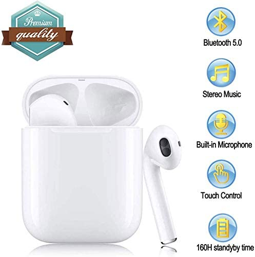 Bluetooth 5.0 Headset, Earbud Headset, Built-in Microphone and Charging Box, 3 Stereo Noise Reduction, Suitable for Airpods Android/iPhone/Samsung