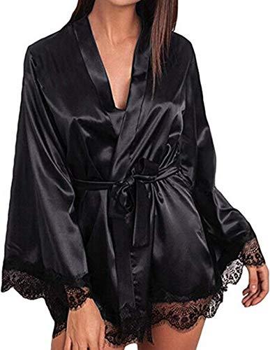 - TUSFTAY Women Satin Robe Lace Trim Short Kimono Sleepwear Long Sleeve Nightwear Nightgown Dressing Gown for Brides Bridesmaids Lingerie Robes (L, Black)