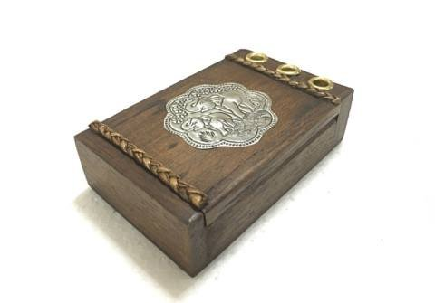 Handmade Vintage Business Card Holder With Pen Holder Box Vintage Style Quality Handmade With Thai Elephant Plate Decorated, Products From Thailand