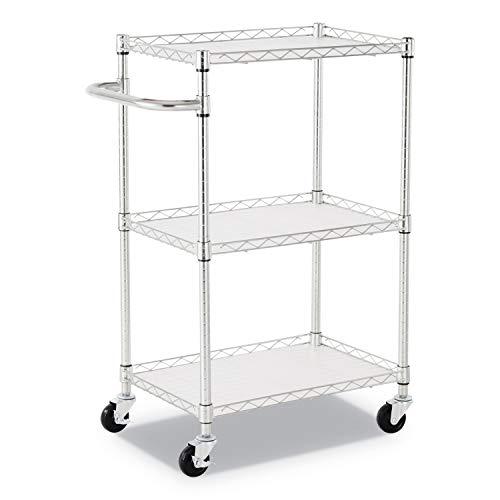 Alera ALESW322416SR 3-Shelf Wire Cart with Liners, 28 1/2'' x 16'' x 39''