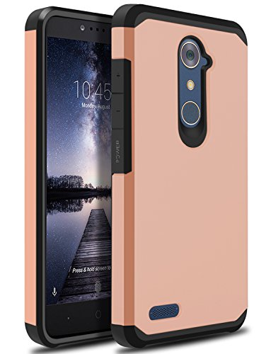 ZTE ZMAX Pro Case, ZTE Zmax Duo LTE Case, ZTE Blade X Max Case, OTOONE [Slim] Dual Layer Heavy Duty Protection Silicone Matte Cover for ZTE Grand X Max 2 Without Built in Screen Protector (Rose Gold)
