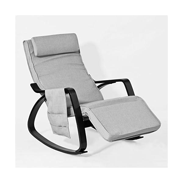 SoBuy FST20-HG Eponge plus épais!! Fauteuil à bascule berçante relax avec pochette latérale amovible, Rocking Chair…