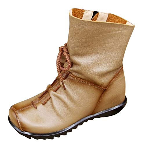 LandFox Women's Retro Leather Ankle Boots Warm Leather Boots Low Heel Boots Boots,US:9 Khaki