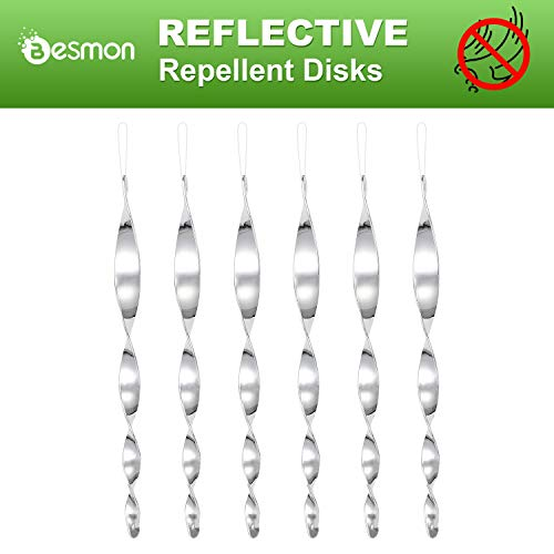 Besmon Bird Scare Rods(6/12 Pack) Spiral Reflective Intimidation Bird Device,Effectively Keep Birds Away from Your House (6PCS)