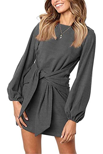 MIDOSOO Womens Solid Color Long Sleeve Wear to Work Pencil Dress with Belt Dark Grey L