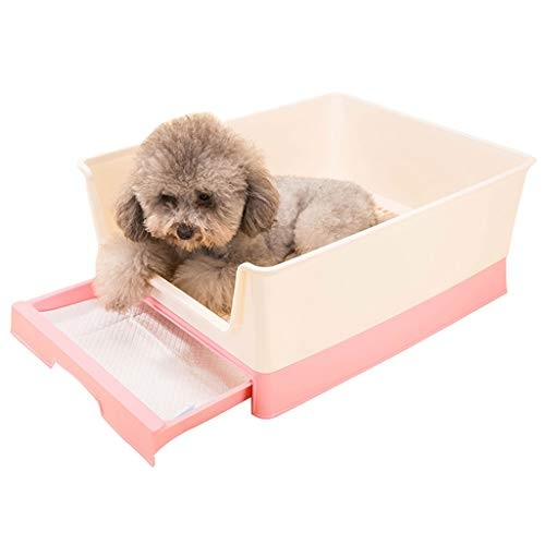 (LZRZBH Pet Toilet, Pull Type Dog Toilet Puppies Bedpan Urinal Basin Pet Supplies Pet Toilet Plate Tray (Color : Pink))