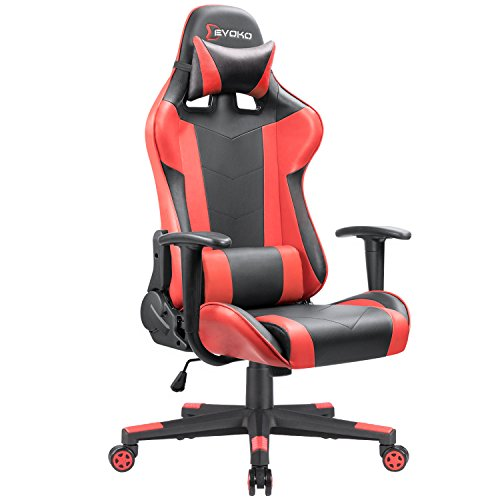 - Devoko Ergonomic Gaming Chair Racing Style Adjustable Height High-back PC Computer Chair With Headrest and Lumbar Massage Support Executive Office Chair (Red)