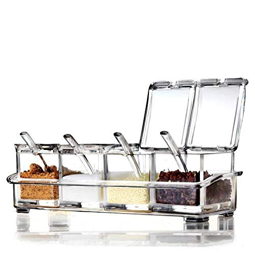 Clear Spice Rack Spice Pots - 4 Piece Acrylic Seasoning Box - Storage Container Condiment Jars - Cruet with Cover and Spoon - Spice Salt Container Sugar Storage Organizer