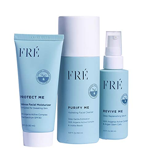 123FRÉ Skincare Set - Formulated for Skin that Sweats - Includes Purify Me Hydrating Facial Cleanser, Revive Me Deep Replenishing Skin Serum, and Protect Me Daily Moisturizer with SPF 30
