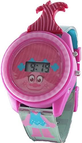 Trolls Girl's Poppy Light Up Digital Watch w/Hair Sticking Out of face
