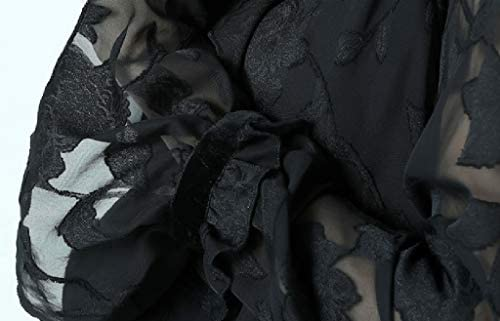 DONGY Colore Puro Primavera Vestito Nuovo Chiffon Camicia Corno Manica Estate Nero Manica Lunga Top Verticale Collare Big Code Donne Camicia Donna Sling