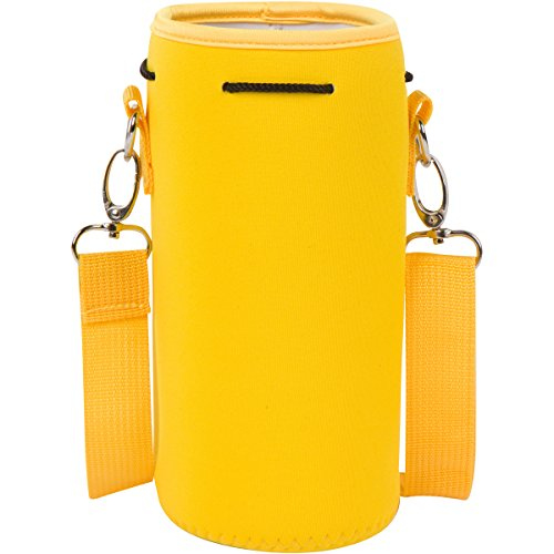 Neoprene Water Bottle Carrier Holder (32 ounces or 1-1.5 Liter) w/ Adjustable Shoulder Strap - Protect Your Containers From Damage - Cover Glass Bottles - Dog Bottle Carrier by Made Easy Kit (Yellow)