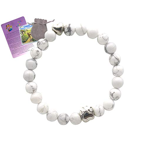 AMODAI Pet Memorial Bracelet Gifts for Pet Lost,Cat Dog Memorial with Rainbow Bridge Poem Card Remembrance in Memory of Cat Dog Sympathy Gifts(White) ()